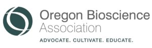 oregon bioscience association logo in green with gray lettering on white background