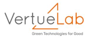 gray and orange vertue lab logo on white background