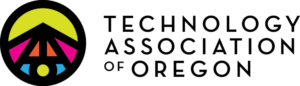 brightly colored logo for technology association of oregon