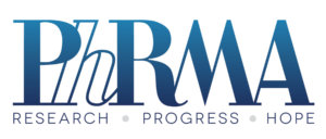 PhRMA logo in blue and white