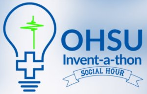 OHSU Invent-a-thon social hour logo with light bulb and dark blue lettering on a light blue background