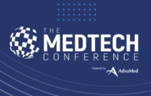 AdvaMed MedTech conference logo dark blue with white lettering and a globe symbol