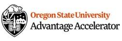 Oregon State University Advantage Accelerator lettering in black and orange, with OSU shield logo on white background