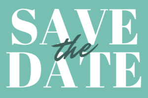white letters save the date on green background