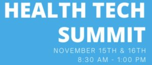 Health Tech Summit with white letters on blue background